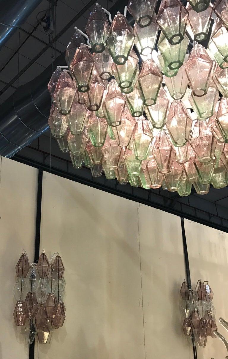 Pair of Venini Poliedri Carlo Scarpa Pink and Green Murano Glass Chandelier 1955 For Sale 1