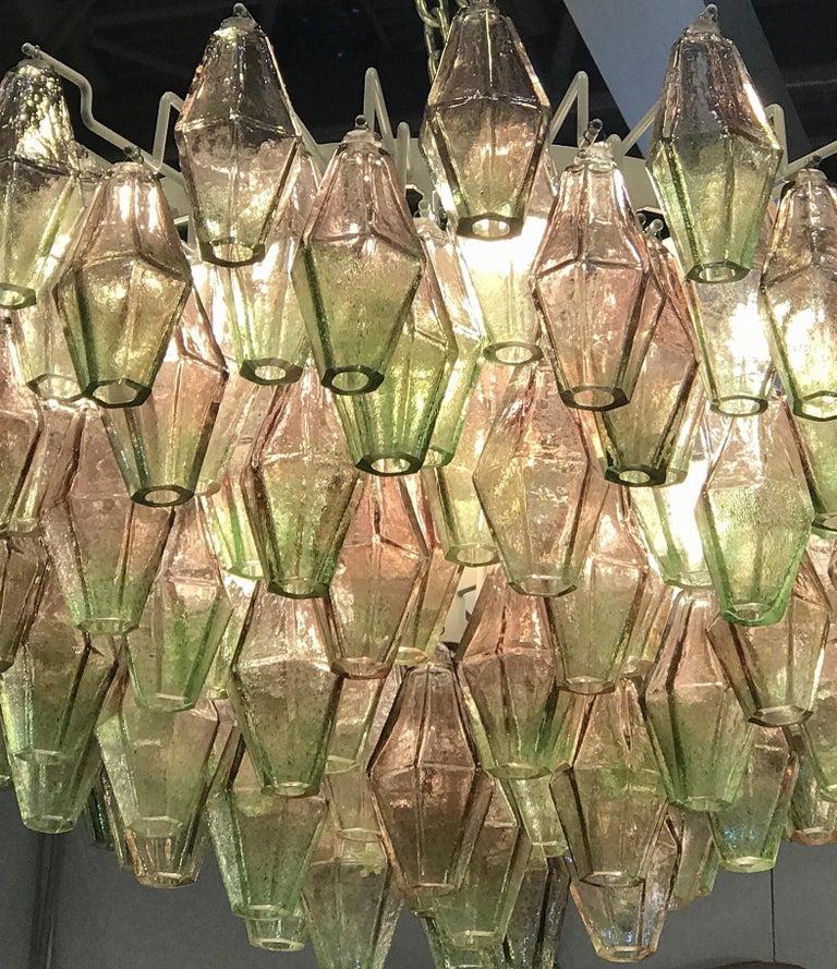 Pair of Venini Poliedri Carlo Scarpa Pink and Green Murano Glass Chandelier 1955 For Sale 2