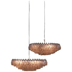 Pair of Venini Poliedri Chandeliers