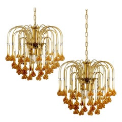 Pair of Venini Style Chandelier with Murano Burned Orange Glass Flowers