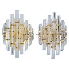Pair of Venini Style Crystal Sconces