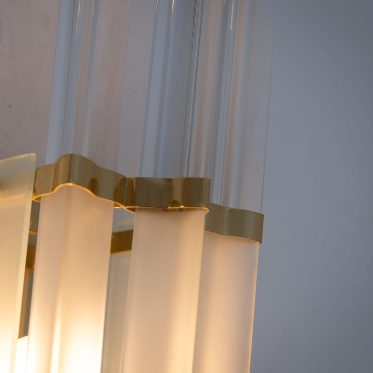 Italian 1 of the 2 Pairs of Venini Style Murano Glass and Brass Sconces, Italy For Sale