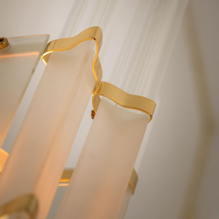 Gilt 1 of the 2 Pairs of Venini Style Murano Glass and Brass Sconces, Italy For Sale