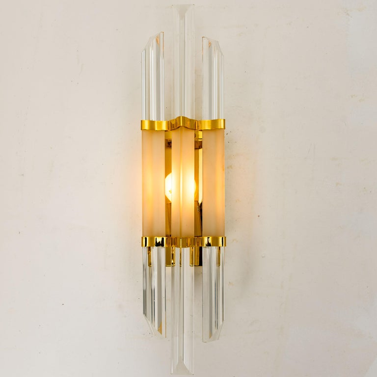 1 of the 2 Pairs of Venini Style Murano Glass and Brass Sconces, Italy For Sale 1