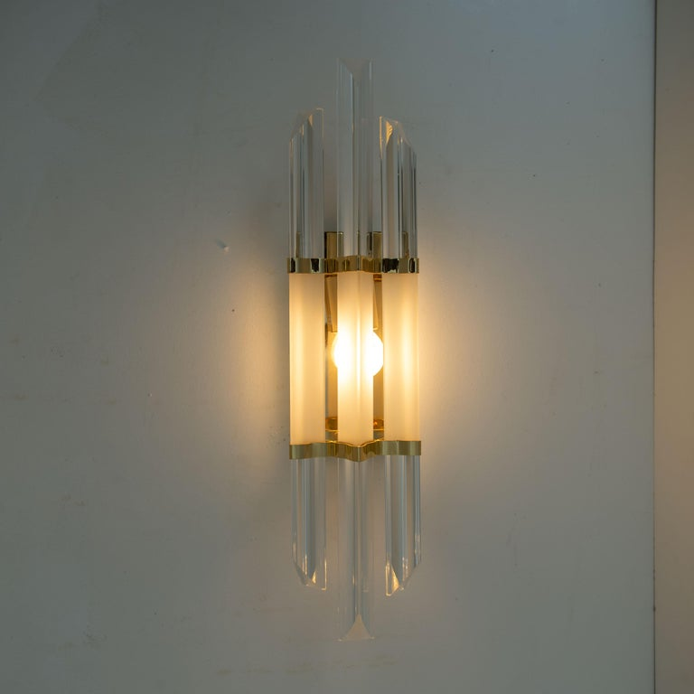 1 of the 2 Pairs of Venini Style Murano Glass and Brass Sconces, Italy For Sale 2