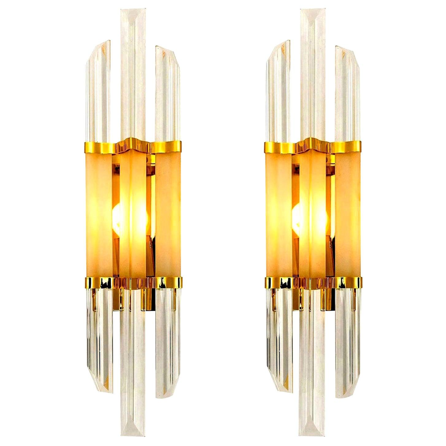 Pair of Venini Style Murano Glass and Brass Sconces, Italy