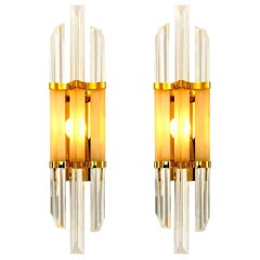 1 of the 2 Pairs of Venini Style Murano Glass and Brass Sconces, Italy