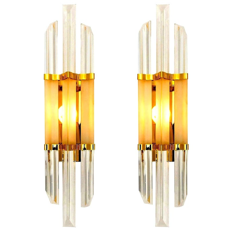 1 of the 2 Pairs of Venini Style Murano Glass and Brass Sconces, Italy For Sale