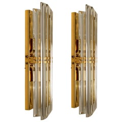 Pair of Venini Style Murano Glass and Gilt Brass Sconces, Italy