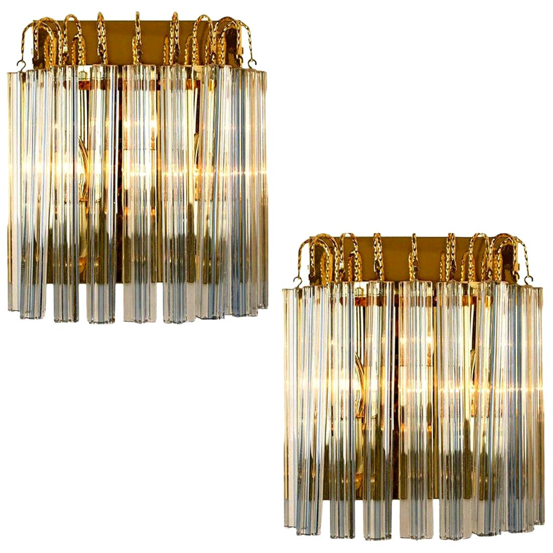Pair of Venini Style Murano Glass and Gilt Brass Sconces with Grey Stripe, Italy