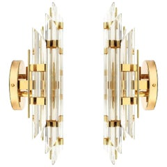 Pair of Venini Style Murano Glass and Gold-Plated Sconces, Italy