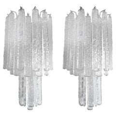 Pair of Venini Style Murano Glass Icicle Sconces