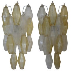 Pair of Venini Style Murano Glass Polyhedral Sconces