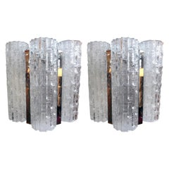 Pair of Venini Style Murano Glass Sconces