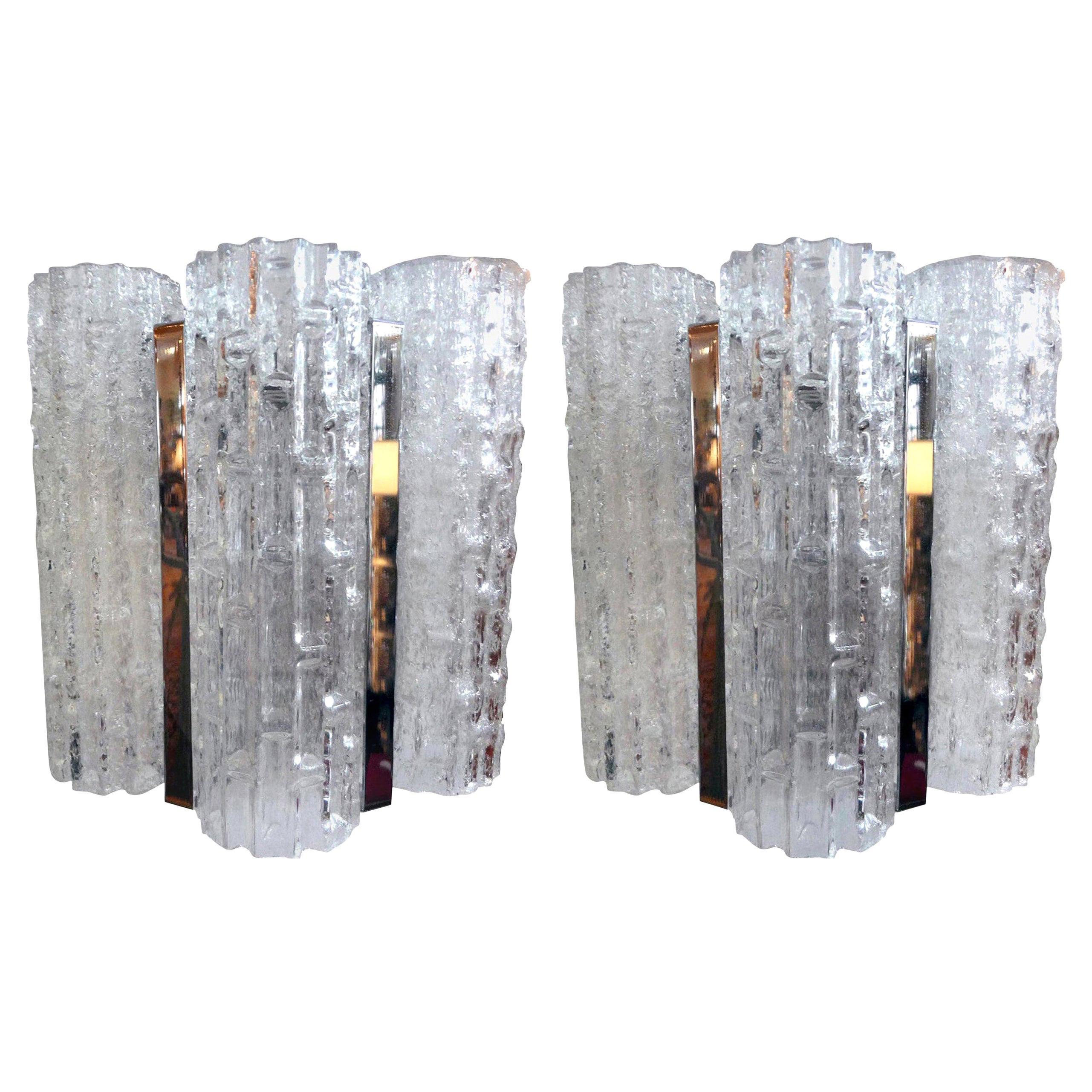 Pair of Venini Style Murano Glass Sconces