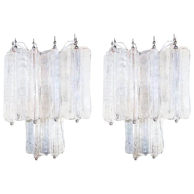 "Pair of Venini ""Tony Zuccheri"" Appliques, 1950s, Murano Glass Iridescent White"
