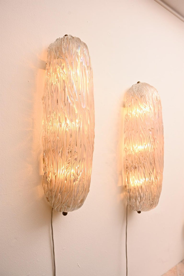 Beautiful textured opalescent glass wall lights by Carlo Scarpa.
