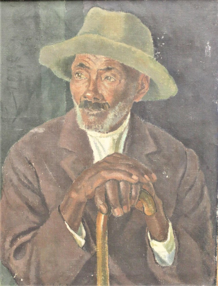 This pair of oil paintings on canvas are done by the well known portrait and landscape Russian artist, Vera Alabaster in circa 1940 in a Folk Art style. The paintings depict a Jamaican man and is titled