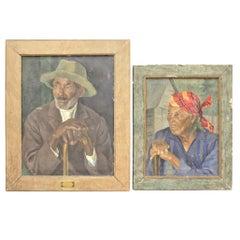 Pair of Vera Alabaster 'Russian' Original Folk Art Oil Paintings on Canvas