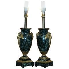 Pair of Verde Marble Swan Gilt Metal Handle Mounted Vase Table Lamps, circa 1900