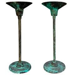 Pair of Verdigris Bronze Candlesticks