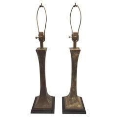 Pair of Verdigris Bronze Lamps by Stewart Ross James for Hansen