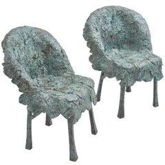 Pair of Verdigris Cast Bronze Leaf Armchairs, Continental, 20th Century