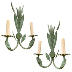 Pair of Verdigris Foliage Sconces