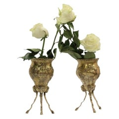 Pair of Vermeil Continental Silver Footed Vases