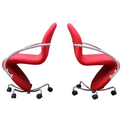 Pair of Verner Panton Fritz Hansen System123 Easy Chairs, 1970s
