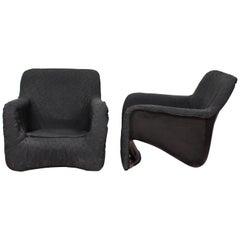 Pair of Verner Panton Style Midcentury Black Fiberglass Armchairs, 1970s