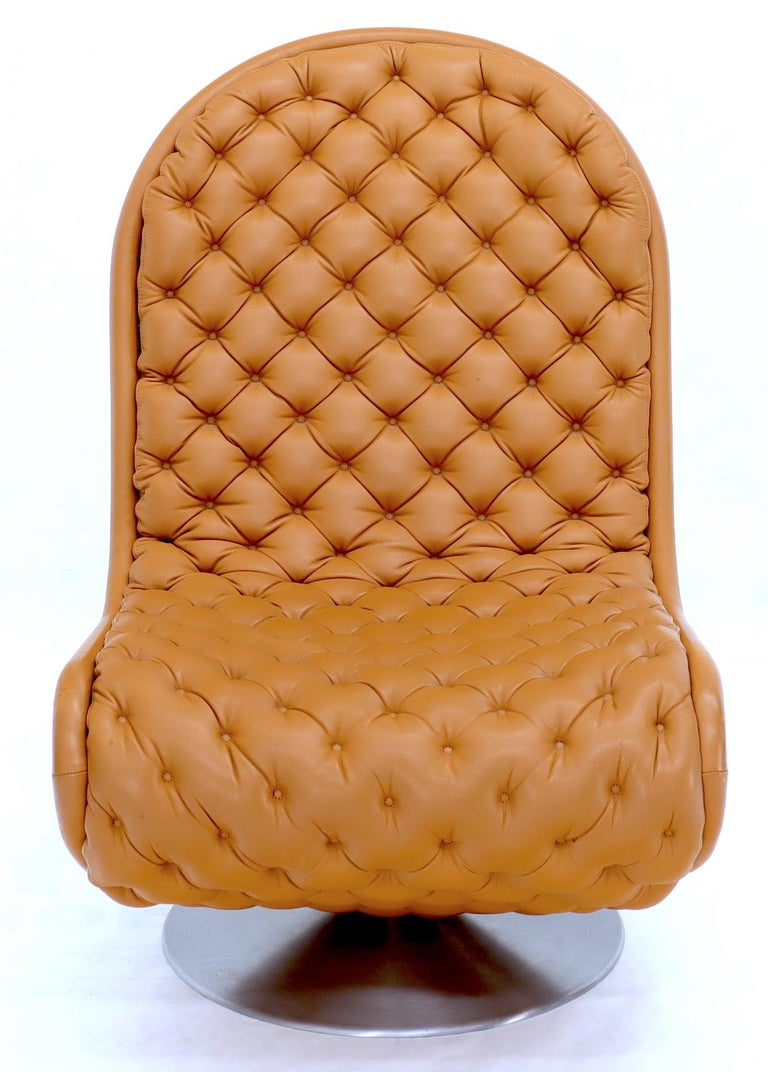 Pair of Verner Panton Tan Tufted Leather 123 Lounge Chairs For Sale 5