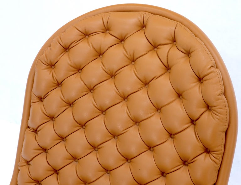 Pair of Verner Panton Tan Tufted Leather 123 Lounge Chairs For Sale 6
