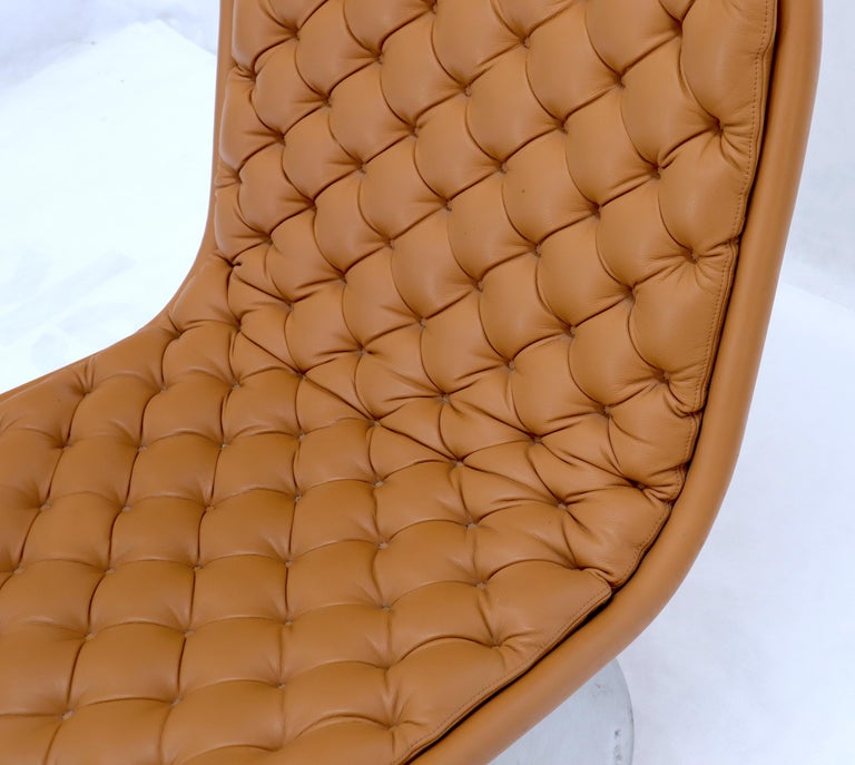 Pair of Verner Panton Tan Tufted Leather 123 Lounge Chairs For Sale 7