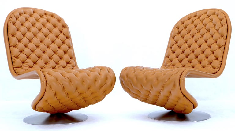 Faux Leather Pair of Verner Panton Tan Tufted Leather 123 Lounge Chairs For Sale