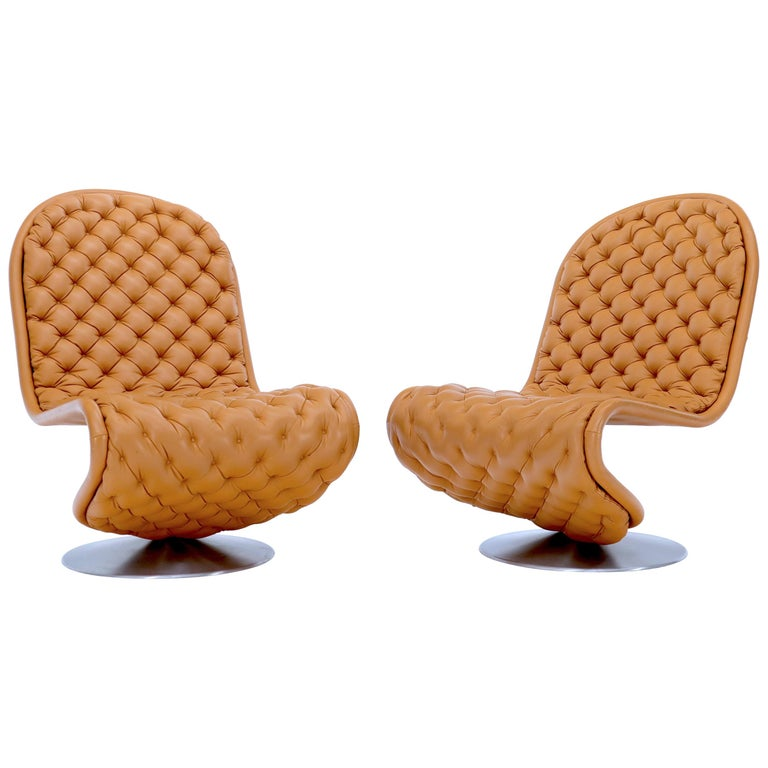 Pair of Verner Panton Tan Tufted Leather 123 Lounge Chairs For Sale