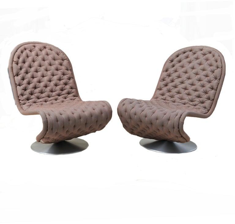 Pair of Verner Panton tufted 123 lounge chairs. Marked Verner Panton.
