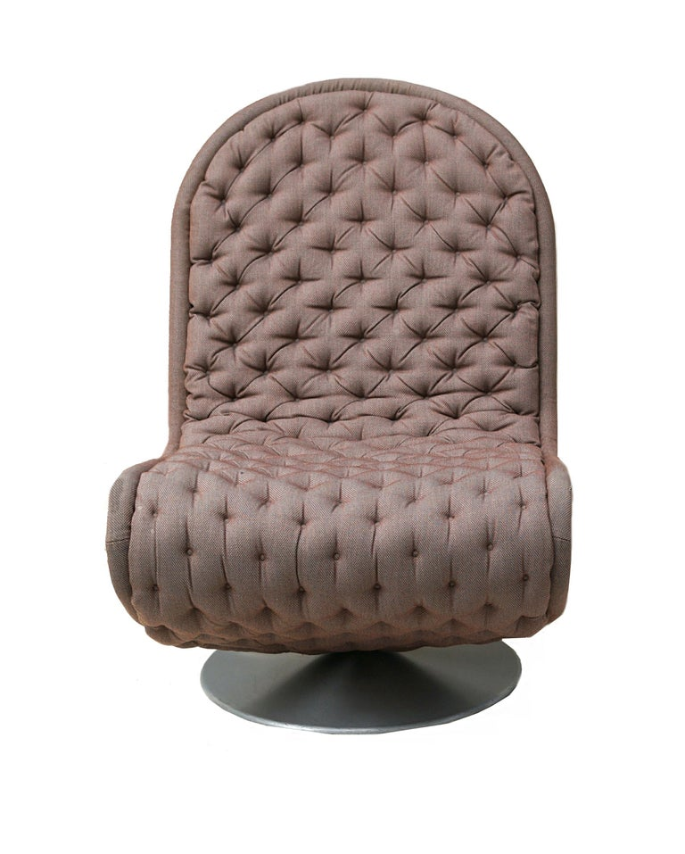 Fabric Pair of Verner Panton Tufted 123 Lounge Chairs For Sale