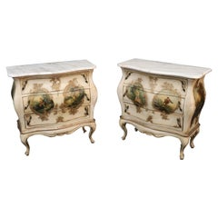 Pair of Vernis Martin Paint Decorated Marble Top Nightstands Commodes circa 1920