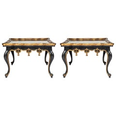 Pair of Verre Églomisé Carved Tables