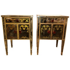 Pair of Verre Églomisé Compatible End Tables or Nightstands with Bakelite Pulls