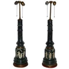 Pair of Verre Églomisé French Table Lamps