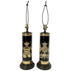 Pair of Verre Églomisé Lamps Coats of Arms for the Earls Bathurst and Granville