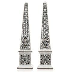 Pair of Versace Marqueterie Pattern Obelisks