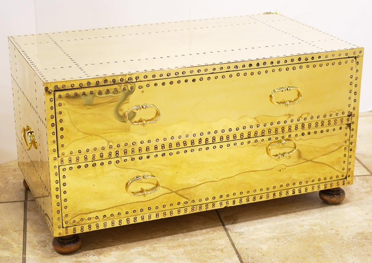 Pair of Versatile Polished Brass Clad Two-Drawer Chests by Sarreid, Spain For Sale 7