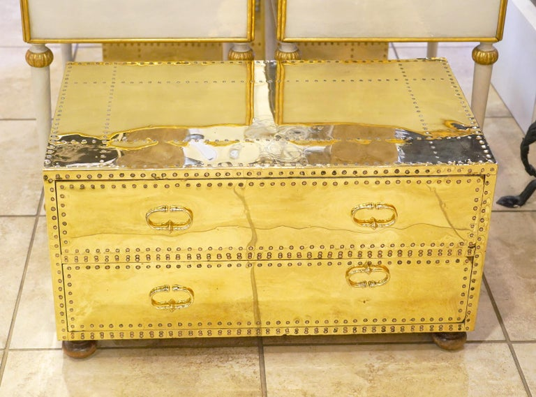 Pair of Versatile Polished Brass Clad Two-Drawer Chests by Sarreid, Spain For Sale 8