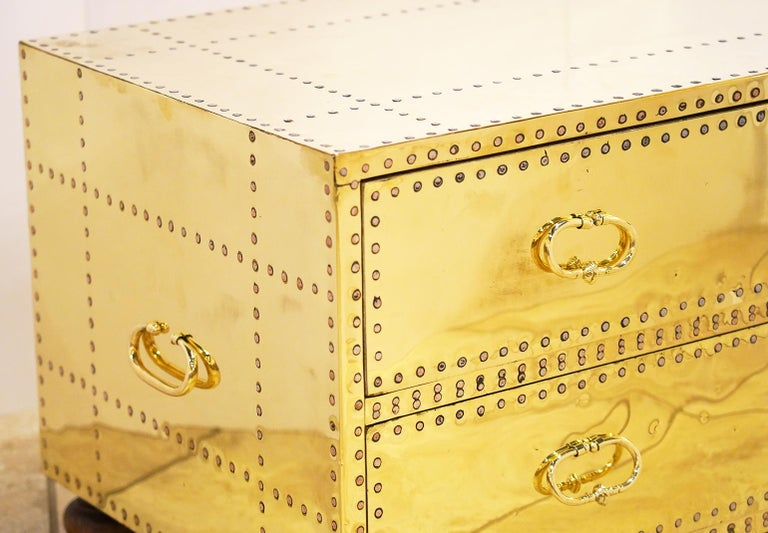 Mid-Century Modern Pair of Versatile Polished Brass Clad Two-Drawer Chests by Sarreid, Spain For Sale