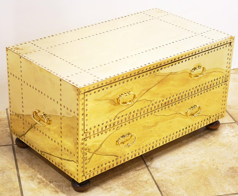 Spanish Pair of Versatile Polished Brass Clad Two-Drawer Chests by Sarreid, Spain For Sale