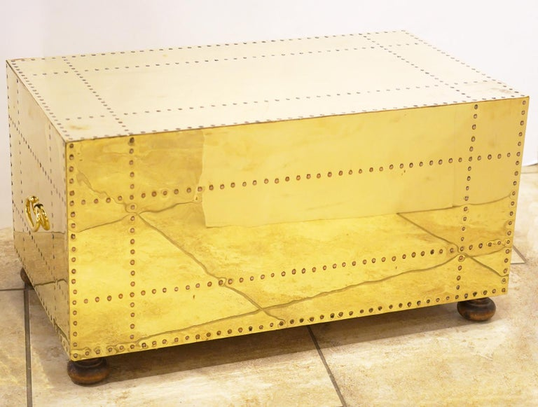 Pair of Versatile Polished Brass Clad Two-Drawer Chests by Sarreid, Spain In Good Condition For Sale In Ft. Lauderdale, FL