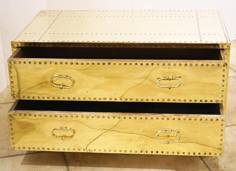 20th Century Pair of Versatile Polished Brass Clad Two-Drawer Chests by Sarreid, Spain For Sale